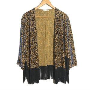 Lush Gold Fringe Kimono Velvet Floral Navy Size M
